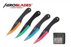 Picture of 4pc Assorted colors Throwing Knives Set w/ Clip Point