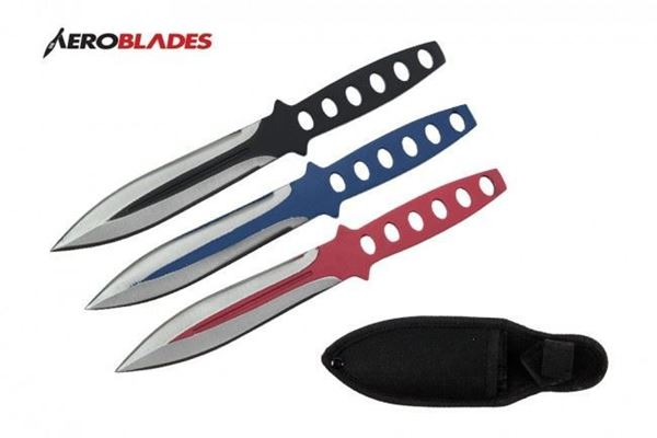 Picture of Set of 3 Throwing Knives (Black/Blue/Red)