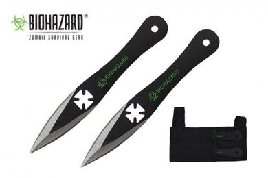 Picture of 2pc. Black Throwing Knives w/Iron Cross