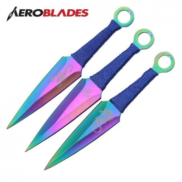 Picture of Set of 3 Rainbow Scorpion Kunai Knives