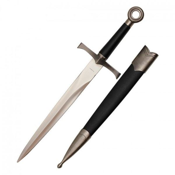 Picture of Medieval Dagger With Chrome Finish And Black Scabbard