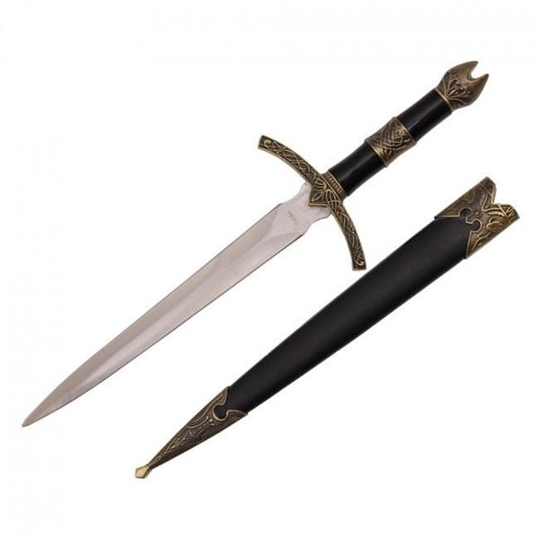 Picture of Medieval Dagger With Golden Handle Design and Black Scabbard