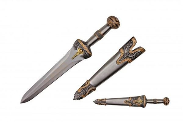 Picture of Roman Dagger With Scabbard And Brass Color Finish