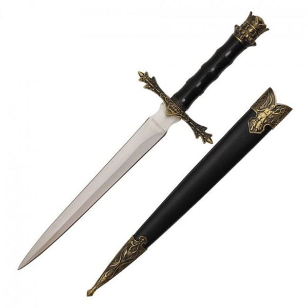 Picture of Medieval Dagger With Golden Handle Crown Design