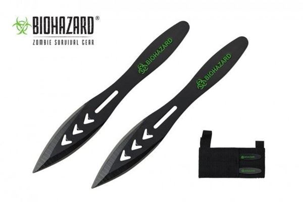 """Picture of Biohazard 5.5"""" Black Throwing Knife. Includes Sheath. 2pc Set."""