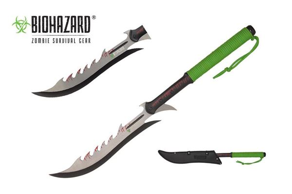 Picture of Biohazard Zombie Black Machete w/ Backside Saw Teeth