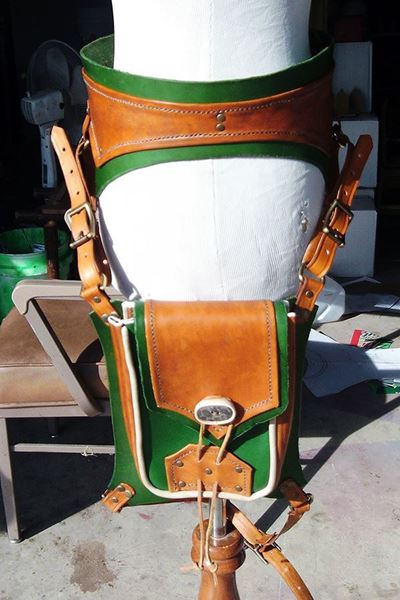 Picture of Steampunk Leather Thigh Bag with Ranger Style Belt.