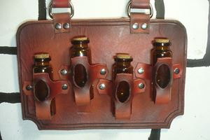 Picture of Steampunk Leather 4 Bottle Holder - Red