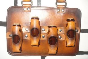 Picture of Steampunk Leather 4 Bottle Holder - Brown